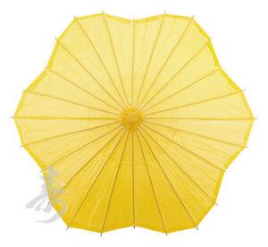 32-YELLOW-Scalloped-Shaped-Paper-Parasol-handmade-bamboo-rice-paper-umbrella
