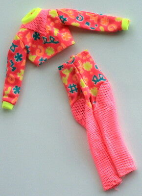 BARBIE 2 piece hot pink tights pants & shirt fashion Workin' Out 1996 #17317