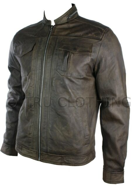 Mens Real Leather Jacket Biker Style Vintage Brown Zipped Design Casual Fitted
