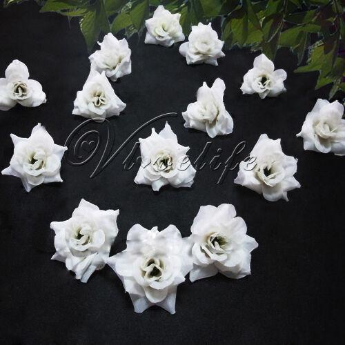 24 White Silk flower head rose wedding decoration Table