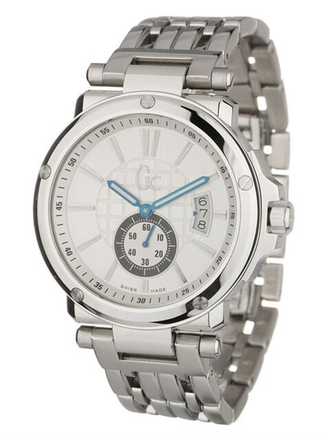 NEW GUESS COLLECTION GC 1 SWEEP DATE SS SILVER BRACELET WATCH G65001G1 X65001G1