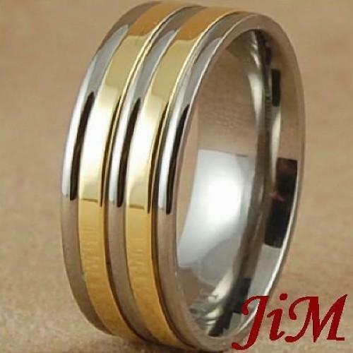 8MM Mens Titanium Wedding Band Shiny 14K Gold Ring Bridal Jewelry Hot Size 6-13