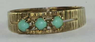 1960'S VINTAGE 9K 9CT GOLD THREE 3 TURQUOISE BAND RING SIZE 6.75