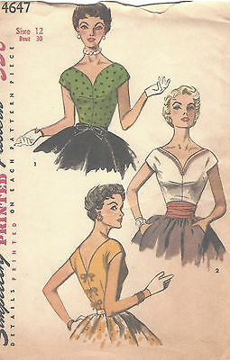 "1950s Vintage Sewing Pattern B30"" BLOUSE & CUMMERBUND (R791)"
