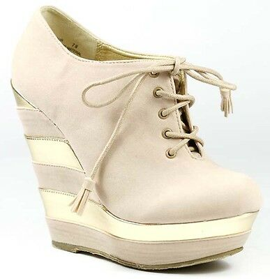 Two Tone Platform Round Toe Lace Up Wedge Bootie Boot Dollhouse Glamour