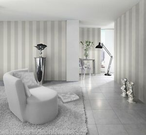 Image Is Loading Silver Amp White Striped Wallpaper Stripes Are 13cm
