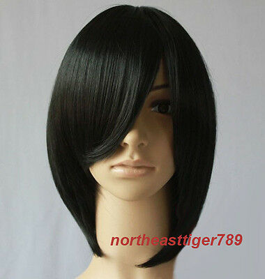 Hot Sell Fashion Short Black Straight Party Cosplay Women's Hair Wig Wigs + Cap