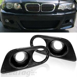 FOR-01-06-BMW-E46-M3-REAL-CARBON-FIBER-AIR-DUCT-DUAL-VENT-FOG-LIGHT-COVER-02-03