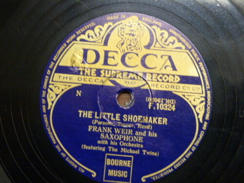 78 rpm FRANK WEIR SAXOPHONE the little shoemaker / the never never land