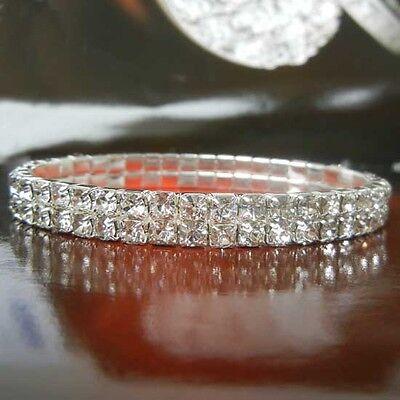 Two Row Czech Rhinestone Crystal Wedding Party Tennis Bracelet,B153