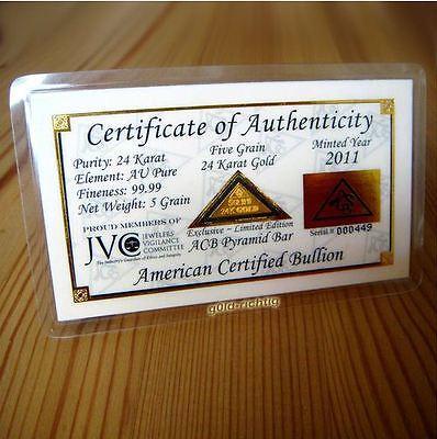 1 Goldbarren 0,324 Gramm + Pyramide + Zertifikat 999,9 Gold Barren Geburtstag