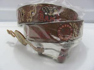 NEW-NWT-Enmon-Collegiate-Alabama-Crimson-Tide-Brown-Leather-Belt-Sz-36-000-922