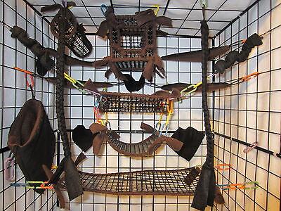 15 pc mesh sugar glider cage set rat toys brown