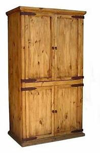 Rustic Promo Armoire Western Cabin Lodge Pantry Storage Cabinet Real Solid Wood