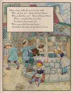 Nursery-Rhyme-Ding-Dong-Cat-039-s-In-the-Well-1912-ANTIQUE-VINTAGE-COLOR-ART-PRINT