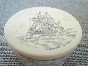 NAUTICAL DECOR, FAUX SCRIMSHAWED IVORYITE BOX