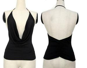 Sexy-Black-Low-Cut-Plunging-Open-Back-Cowl-Halter-Top-Club-Party-Shirt-Blouse