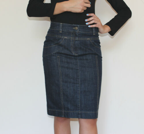 New Ladies Casual Souvenir Fashion Knee Length Pencil Denim Skirt 8 10 12 14 16