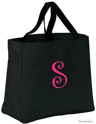 Personalized Tote Bag Monogram Bridesmaid Gift Bride Bridal Wedding Favor Black