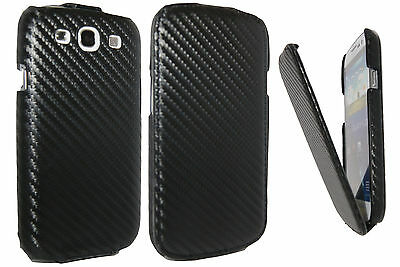 Carbon Fiber Black PU Flip Pouch Leather Case Cover for Samsung Galaxy S3 i9300