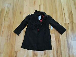 Toddler girl girls wonderkids holiday black dress coat jacket with bow