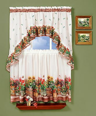 COUNTRY GARDEN-COMPLETE TIER & SWAG SET, KITCHEN CURTAIN-DELICIOUS FLOWERS