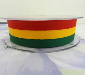 per-2-metres-Rastafarian-reggae-ribbon-red-yellow-green-15mm-25mm-widths