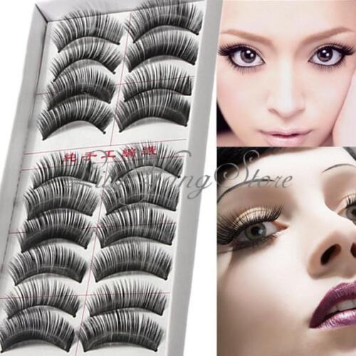 10 Pair Handmade Makeup Cosmetic Natural False Eyelashes Eye Lashes Extension