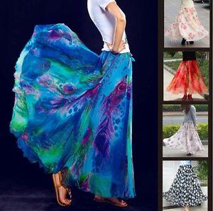 Full-Circle-Chiffon-Long-Maxi-Skirt-35-034-Length-6-8-10-12-14-16-18-20-22-24-26