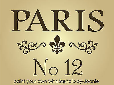 Paris STENCIL Fancy Scroll Border Fleur No 12 Address Chic Home Art Cottage Sign