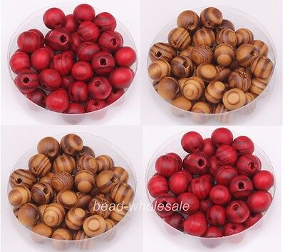 Wholesale 200pcs Brown/Red Ball Wood Spacer Beads 8mm Fit Jewelry Craft Making