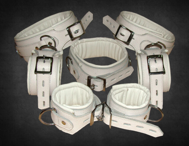 Real White Leather Heavy Duty Padded Set of 7 Bondage Restraints Lockable