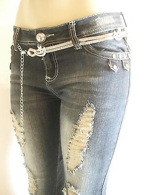 NWT Sexy,Stretch Slim Skinny,Rhinestone&Studs,Blue Jeans,Offer (free Chain Belt)