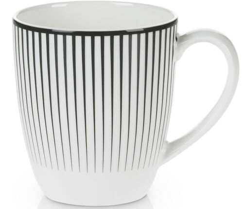 MIKASA Cheers STRIPE DESIGN Fine Bone China MUG Black & White WEDDING GIFT