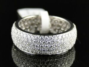 14K Mens Ladies White Gold Round Diamond Pave Eternity ... - photo #47