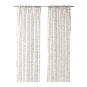 ikea 2 gardinenschals gardinenschal vorhang schlaufenschal gardine wei grau neu ebay. Black Bedroom Furniture Sets. Home Design Ideas