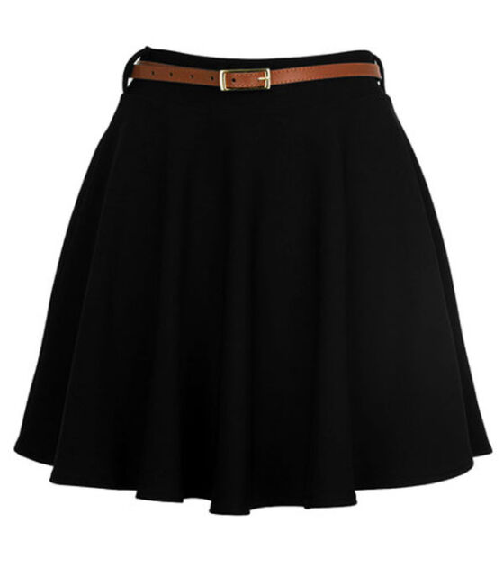 New Womens Ladies Belted Skater Flared Jersey Plain Mini Party Dress Skirt 8-14