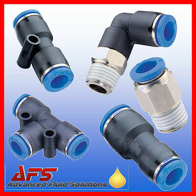 Pneumatic Push In Fittings for Air/Water Nylon Pipe Tubing Tube Choice Thread UK
