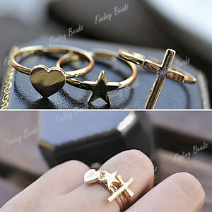 3Pcs-Set-Fashion-Lovely-Gold-Tone-Religious-Cross-Love-Heart-Star-Ring-Wholesale
