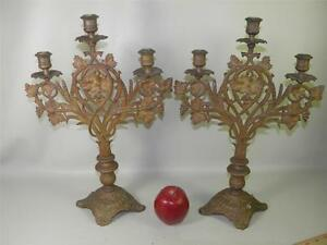 ANTIQUE-BRONZE-CANDLELABRA-PAIR-ORNATE-THREE-CANDLE-HOLDERS-GRAPES-WHEAT