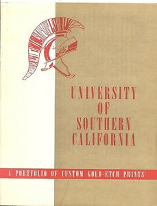 Univ-of-Southern-California-Portfolio-of-Custom-Gold-Etch-Prints-2-Diff-c1950s