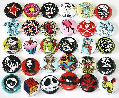 Mixed Alt. Skull Designs x 30 BADGES Buttons Pins Wholesale Lot 25mm