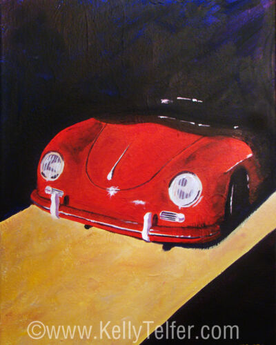 "'Speedster Barn Find' 1950's Classic Porsche 16"" x 20"" Print by Kelly Telfer"