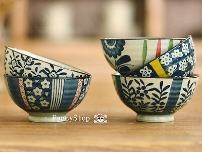 BrandNew Small Blue and White Collection  ceramics Rice/Soup Bowls(Set of five)