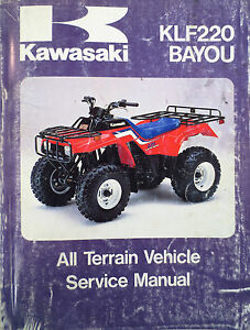 kawasaki klf 220 a1 bayou owner s manual 1988 ebay