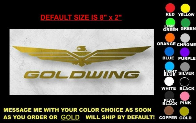 """GOLDWING DECAL, 8"""" x 2"""", ANY COLOR! honda gl 1800 1500 trike se wing ding gold"""