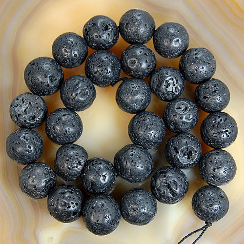"Natural Black Volcanic Lava Stone Round Beads 15.5""4 6 8 10 12 14mm Pick Size"