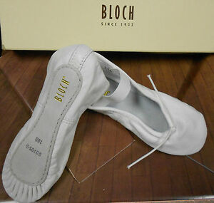 NEW-Bloch-White-Leather-Full-Suede-Sole-Ballet-Shoes-205G-L-attached-elastics