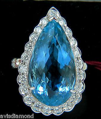 █$31000 GIA BLUE 18KT 17.78CT NATURAL BRILLIANT GEM AQUAMARINE DIAMOND RING VS█