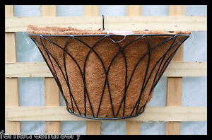 FAON-FERN-Orchid-Garden-Wall-wire-Hanging-Basket-14-Powder-coated-with-coir